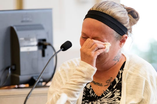 Rhonda Bird testifies about the last time she spoke to her daughter, Hailey Hall, 16, who was beaten, during William Arnold's murder trial for the murder of Hailey Hall at Hamilton County Courthouse on Wednesday, Sept. 26, 2018. Arnold is charged with murder, kidnapping, abduction, felonious assault and tampering with evidence in Hailey's death. He was arrested March 1, 2016, the day after Hailey was attacked.