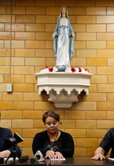 "Maribel Trujillo-Diaz during a press conference at St. Julie Billiart Parish, in Hamilton, Tuesday, September 25, 2018.  A ""Welcome Home"" prayer service was held for Truijilo-Diaz, an asylum seeker, who was recently reunited with her family following 17 months of separation. She received an outcry from various religious, human rights organizations and public officials when she was deported to Mexico City, leaving her husband and four U.S. born children behind."