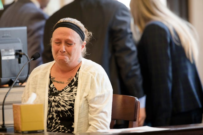 Rhonda Bird testifies about the last time she spoke to her daughter, Hailey Hall, 16, who was beaten, during William Arnold's murder trial for the murder of Hailey Hall at Hamilton County Courthouse on Wednesday, Sept. 26, 2018. Arnold is charged with murder, kidnapping, abduction, felonious assault and tampering with evidence in Hailey's death.