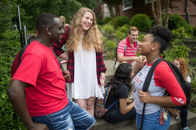 Blackhawk: Current and prospective APSU students meet and mingle during AP Day.