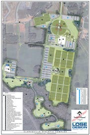 The new preliminary site plan for the Clarksville Athletic Complex.
