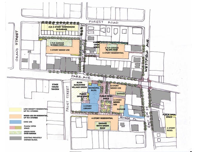 A map of municipally-owned buildings that will be relocated and redeveloped to revitalize downtown Scotch Plains with retail, residential and office space.