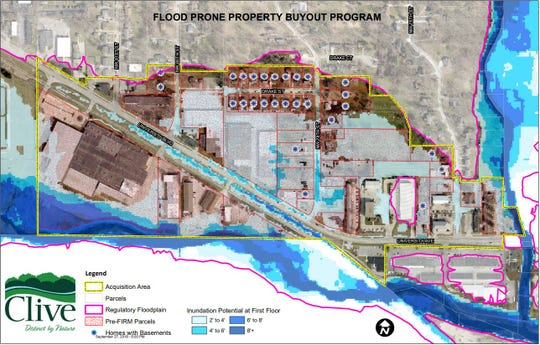Clive plans to spend up to $1.25 million buying out flood prone properties along University Avenue near Walnut Creek.