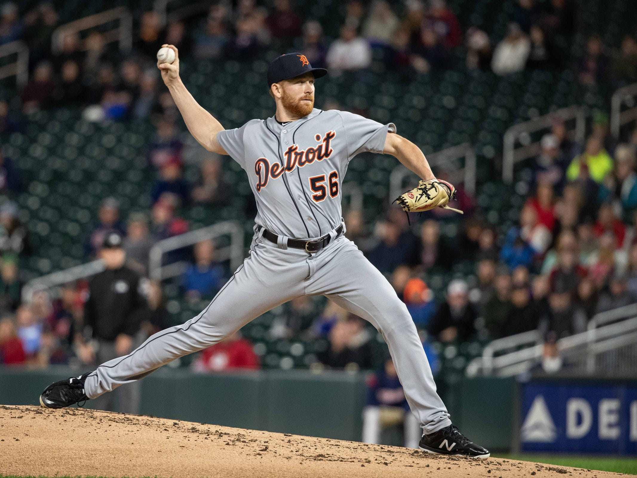 Detroit Tigers starting pitcher Spencer Turnbull (56) delivers a pitch during the first inning against the Minnesota Twins at Target Field on Sept. 25, 2018.
