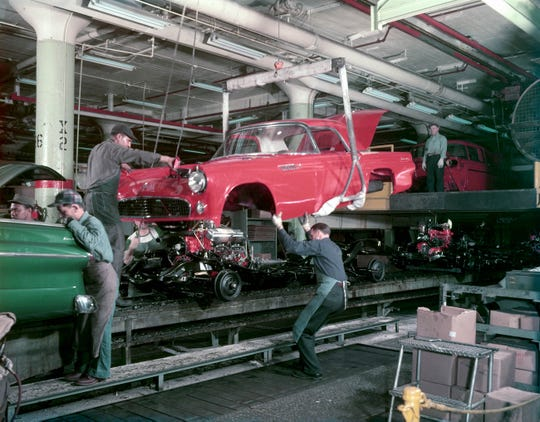 1955--Ford Dearborn Assembly Thunderbird body drop