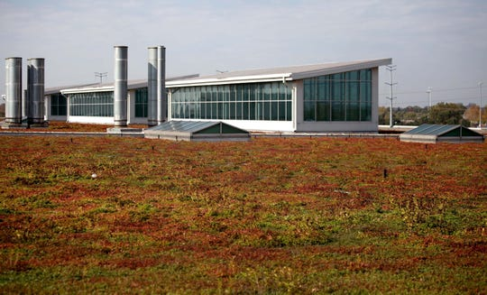 Sedum plants are on the roof at the Ford Dearborn Truck Plant assembly building in October 2013. The glass structure in the background is  designed to be skylights for the assembly workers below. 2013 marks the 10th anniversary of the industrial living roof that is 10.4 acres which is about the equivalent of 10 football fields.