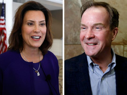 Gretchen Whitmer, Democratic, left, and Bill Schuette, Republican