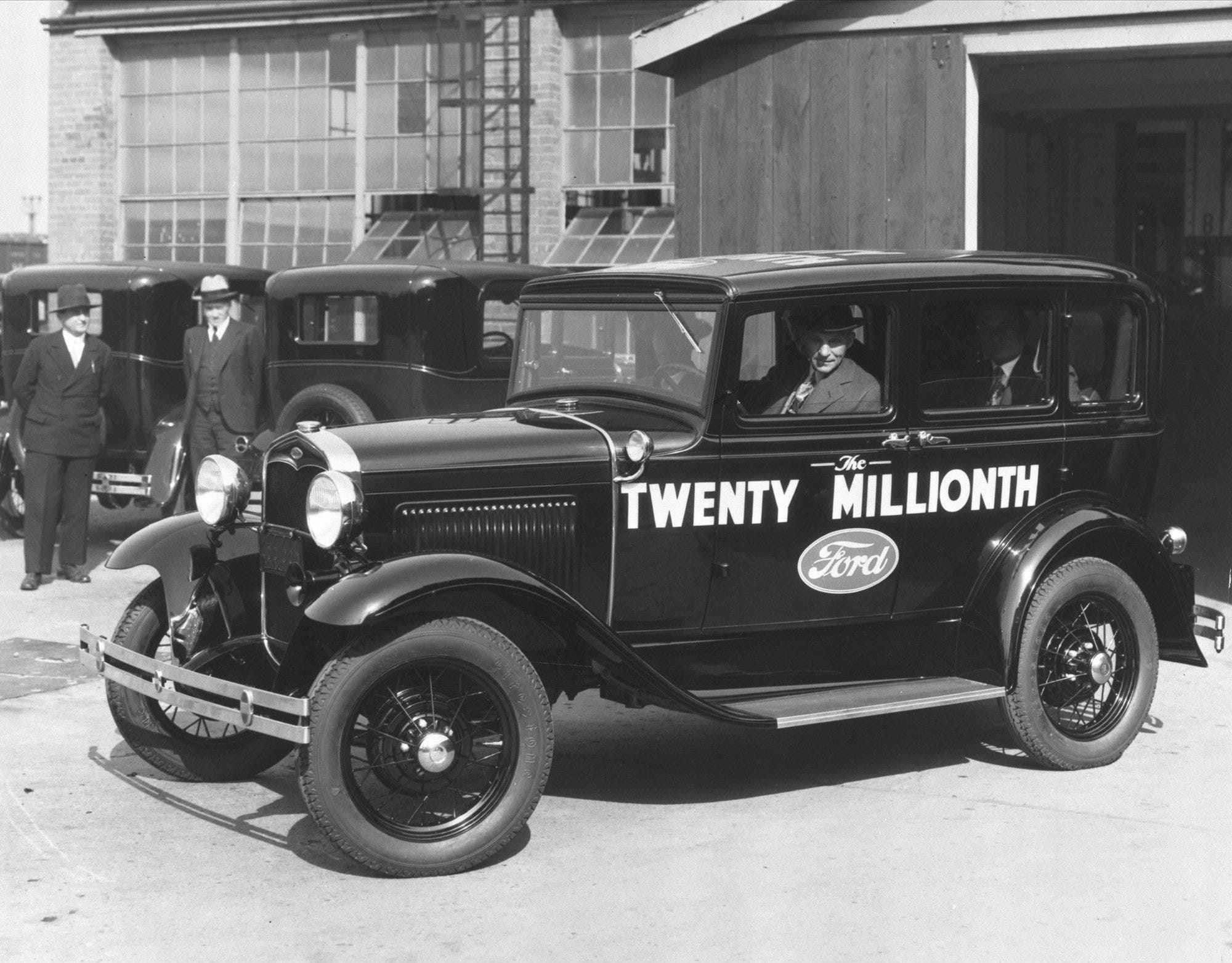 Henry Ford Drives The Automakeru0027s 20 Millionth Vehicle, A Model A, From The Assembly  Line At The Rouge Assembly Plant In Dearborn.