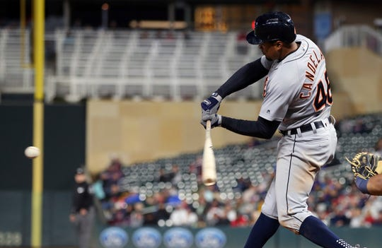 Detroit Tigers' Jeimer Candelario hits a single off Minnesota Twins pitcher Kohl Stewart during the sixth inning of a baseball game Tuesday, Sept. 25, 2018, in Minneapolis.
