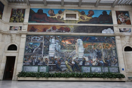 The Detroit Industry murals by Diego Rivera at the Detroit Art Institute's Diego Rivera Court on in February 2015.