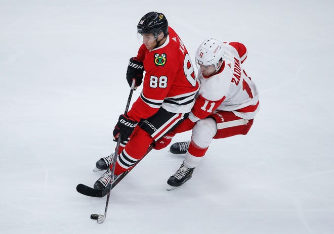 Red Wings forward Filip Zadina (11) had no points in Tuesday's 8-6 preseason victory over the Chicago Blackhawks.