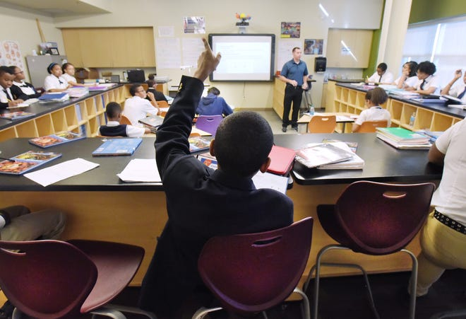 University Prep Science and Math Middle School science class in Detroit, Michigan on October 5, 2017.