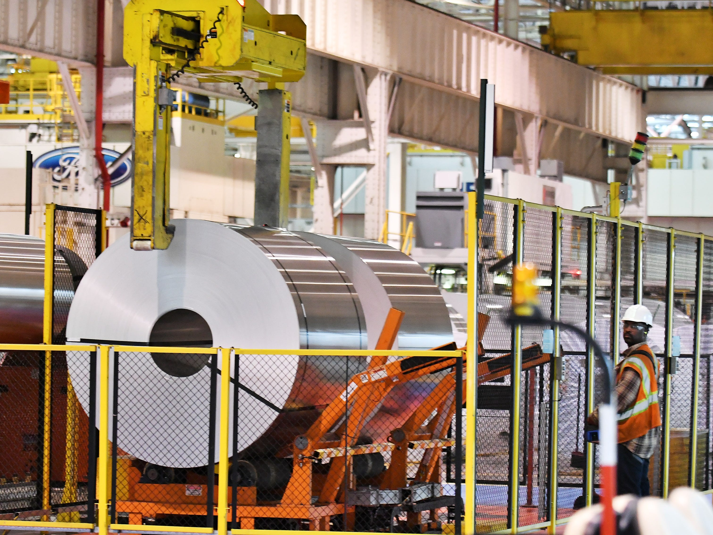 Rolls of steel are handled at Ford Dearborn Stamping in the Rouge complex, which includes five buildings that take up nearly 8 million square feet on the south end of Dearborn. The plant now builds the F-150 pickup.