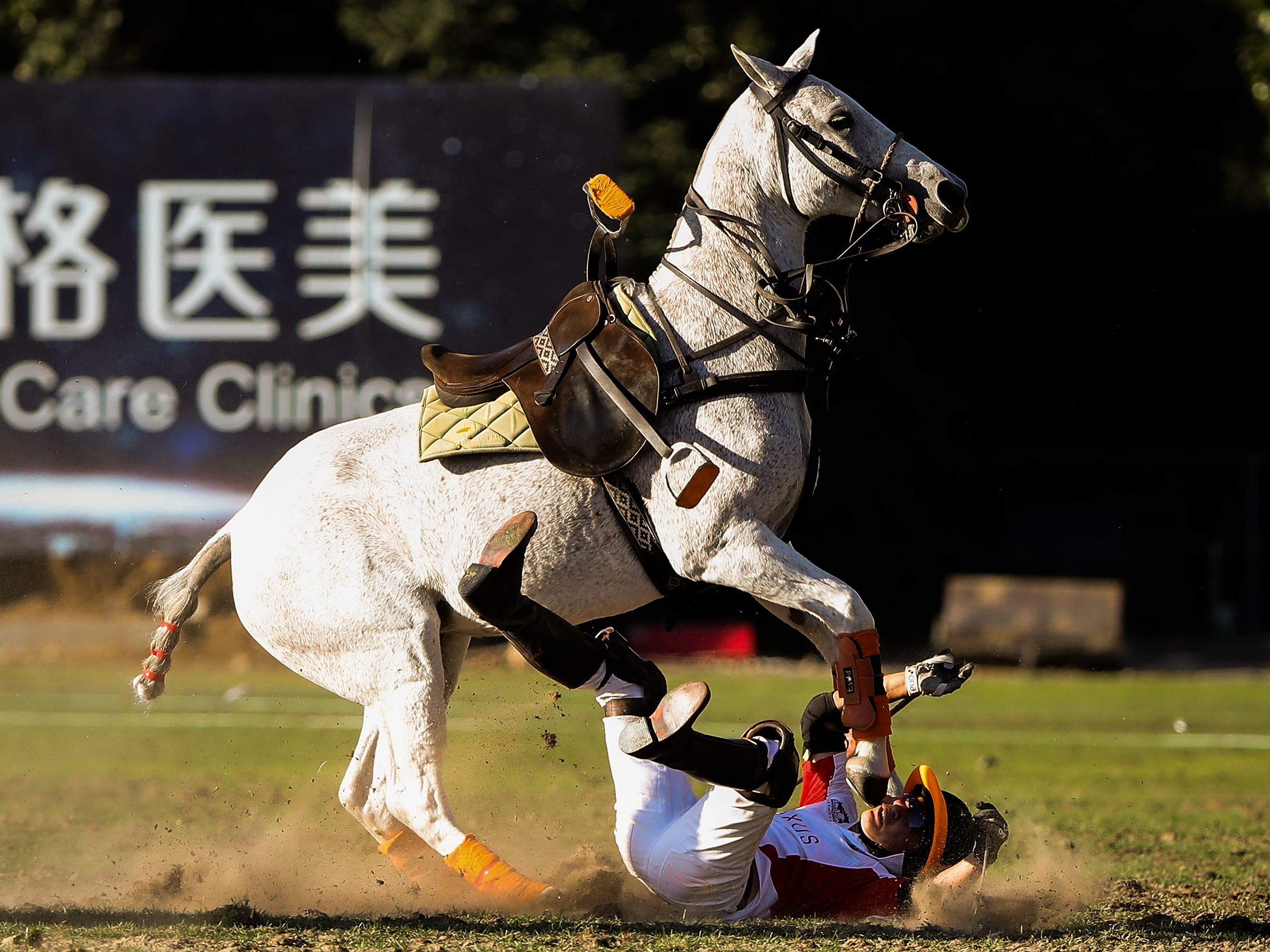 Wang Gang of Team AXUS fall down during the 2018 China Elite Polo Tournament & Argentine Republic Polo Cup match between Team AXUS and Team Fast Fish at Beijing Tang Polo Club on September 23, 2018 in Beijing, China.