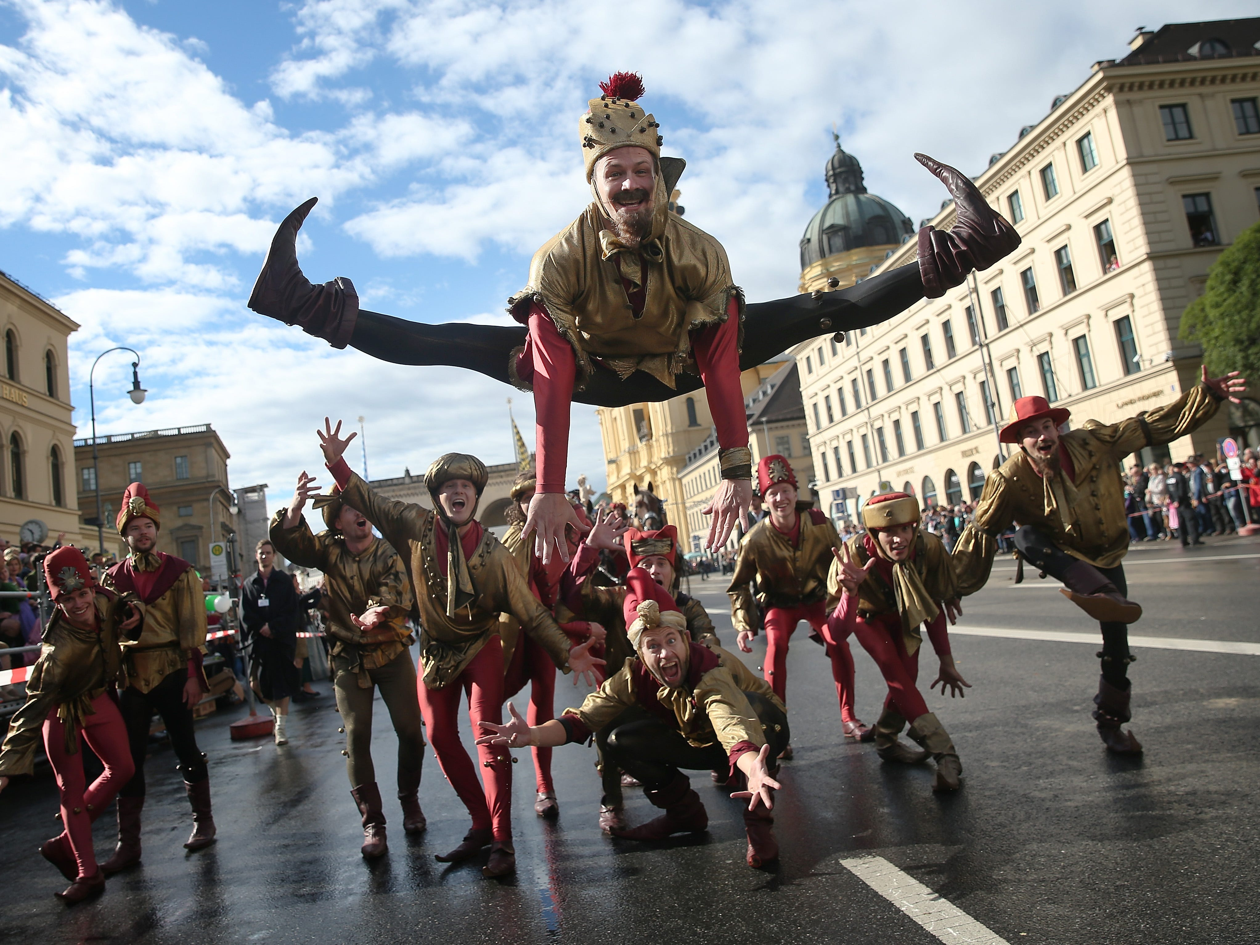 Jokers perform in the Oktoberfest parade of costumes of folk and crafts associations on the second day of the 2018 Oktoberfest beer festival on September 23, 2018 in Munich, Germany. This year's Oktoberfest runs through October 7 and is the world's largest beer festival. Oktoberfest typically draws over six million visitors.