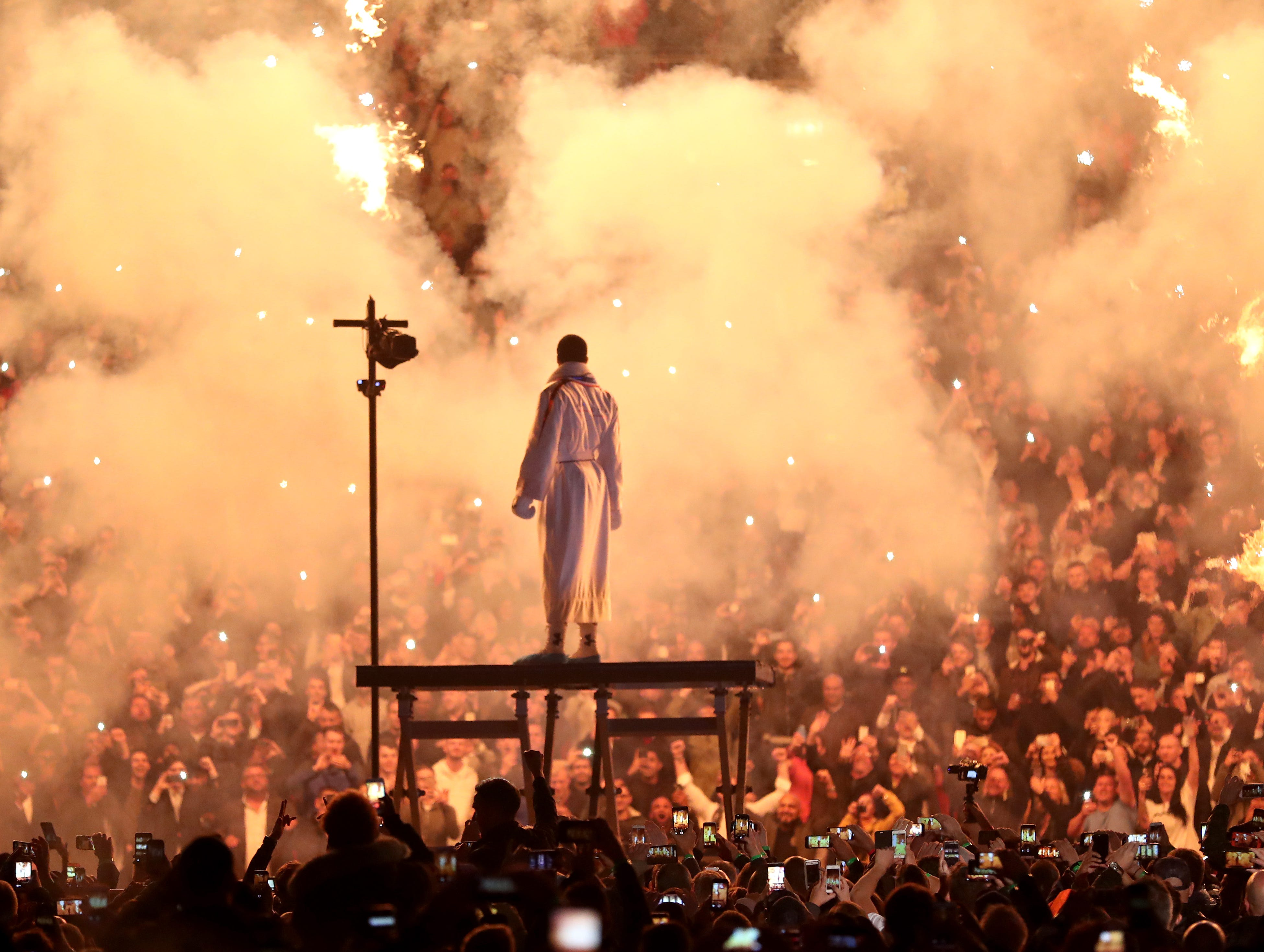 Anthony Joshua makes his way to the ring prior to his IBF, WBA Super, WBO & IBO World Heavyweight Championship title fight against Alexander Povetkin at Wembley Stadium on Sept. 22, 2018 in London, England.