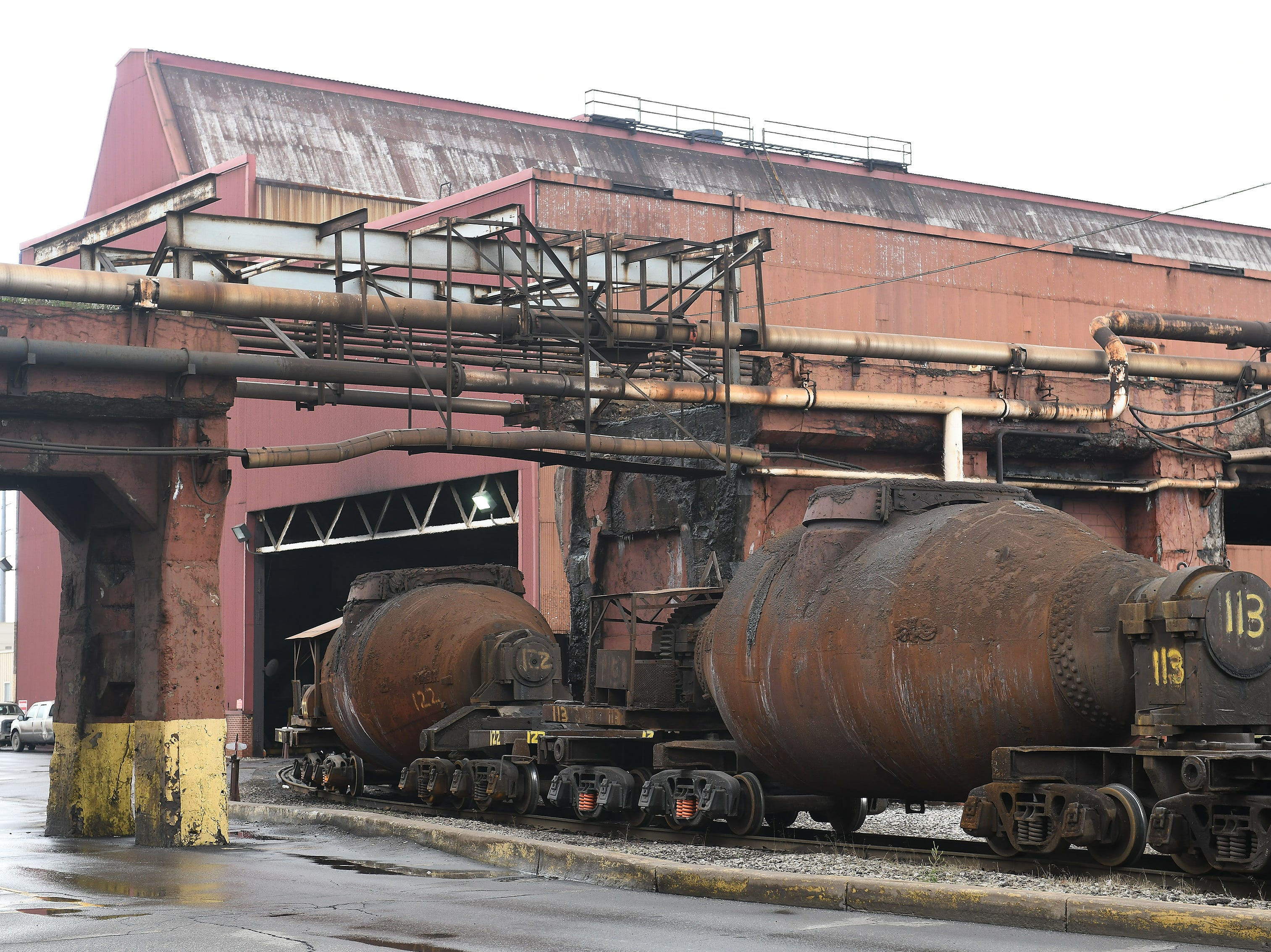 Train cars full of molten steel are used in operations at AK Steel, no longer owned by Ford but located in the Rouge complex.