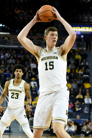 Jon Teske has shot 0-for-2 on 3-pointers during his first two seasons at Michigan.