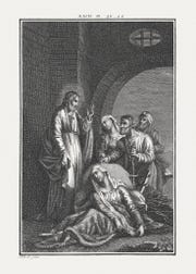 Jesus heals a woman who has been suffering from a hemorrhage for twelve years (Luke 8). Copperplate engraving by Carl Schuler, published c. 1850.