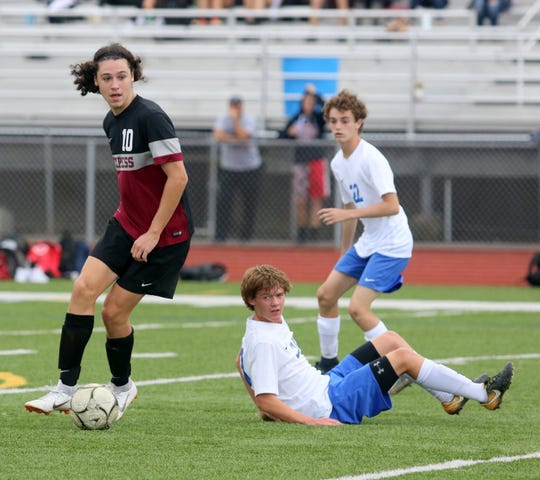 Noah Sperduto of Elmira controls the ball in front of Connor Thorpe (20) and Tommy Dale (22) of Horseheads during the teams' 0-0 tie Sept. 25, 2018 at Ernie Davis Academy.