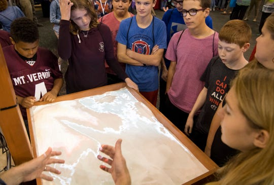 Mount Vernon Middle School students learn about soil conservation at the JA JobSpark event at the Old National Events Plaza Wednesday afternoon. More than 3,500 students are expected to visit the two-day event to learn about careers in the Tri-State.