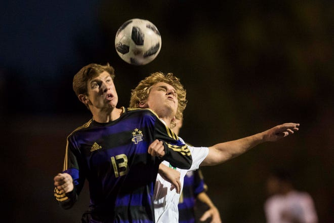 Dylan Katzman, shown heading a ball during a Sept. 25 game against Fossil Ridge, and his Fort Collins High School boys soccer teammates will face Poudre in a 6 p.m. game Tuesday at French Field.