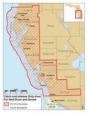 Map of red tide-based catch-and-release areas