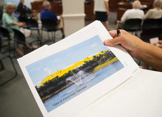 Steve Novak was among the Tidewater residents who opposes Hertz painting Germain Arena yellow. Novak presented a rendering he created to the Estero Design Review Board on Wednesday at Estero Village Hall.