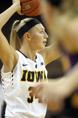 Carly Mohns played in 30 games for Iowa as a redshirt junior in 2017-18.