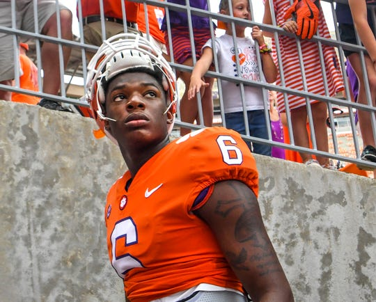 Clemson quarterback Zerrick Cooper (6) after the game with Wake Forest in Clemson on Saturday. Clemson won 28-14.