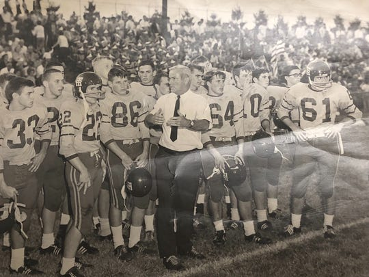 "Dean ""Chico"" Bolin, center, directs the 1967 Travelers Rest football team, which won its first 11 games before losing in the Upper State final."