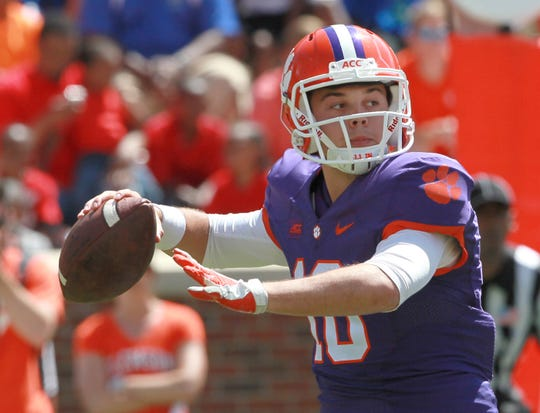 Clemson quarterback Tucker Israel (10) during the annual Spring game at Memorial Stadium in Clemson.