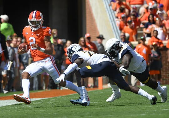 Clemson quarterback Kelly Bryant (2) gets his first start as a Tiger against Kent State Saturday, September 2, 2017 at Clemson's Memorial Stadium.