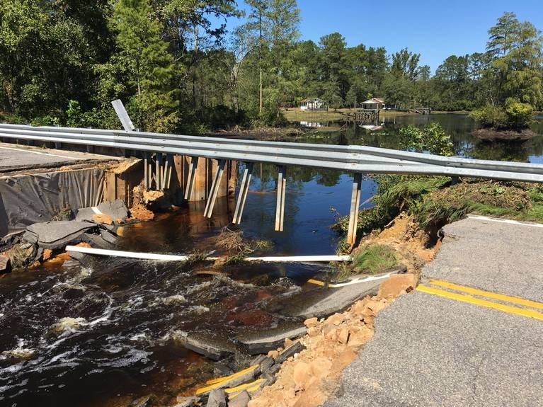 This dam in Marlboro County blew out during Hurricane Florence. It is one of about a dozen dams that broke after the storm soaked South Carolina, flooding many communities in the Pee Dee region.