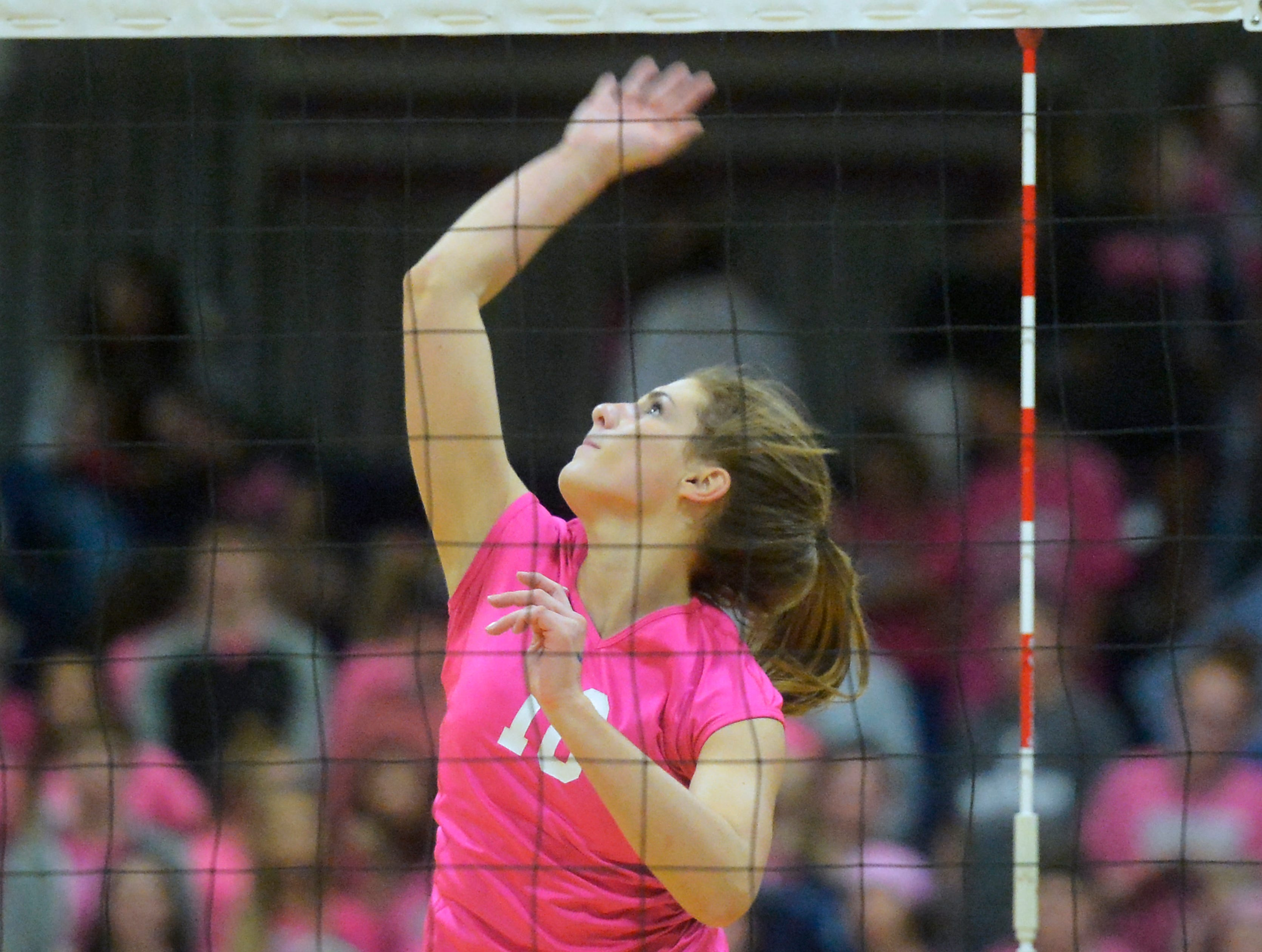 Great Falls High's Hadlee Bleskin during the crosstown volleyball match in the Swarthout Fieldhouse, Tuesday.
