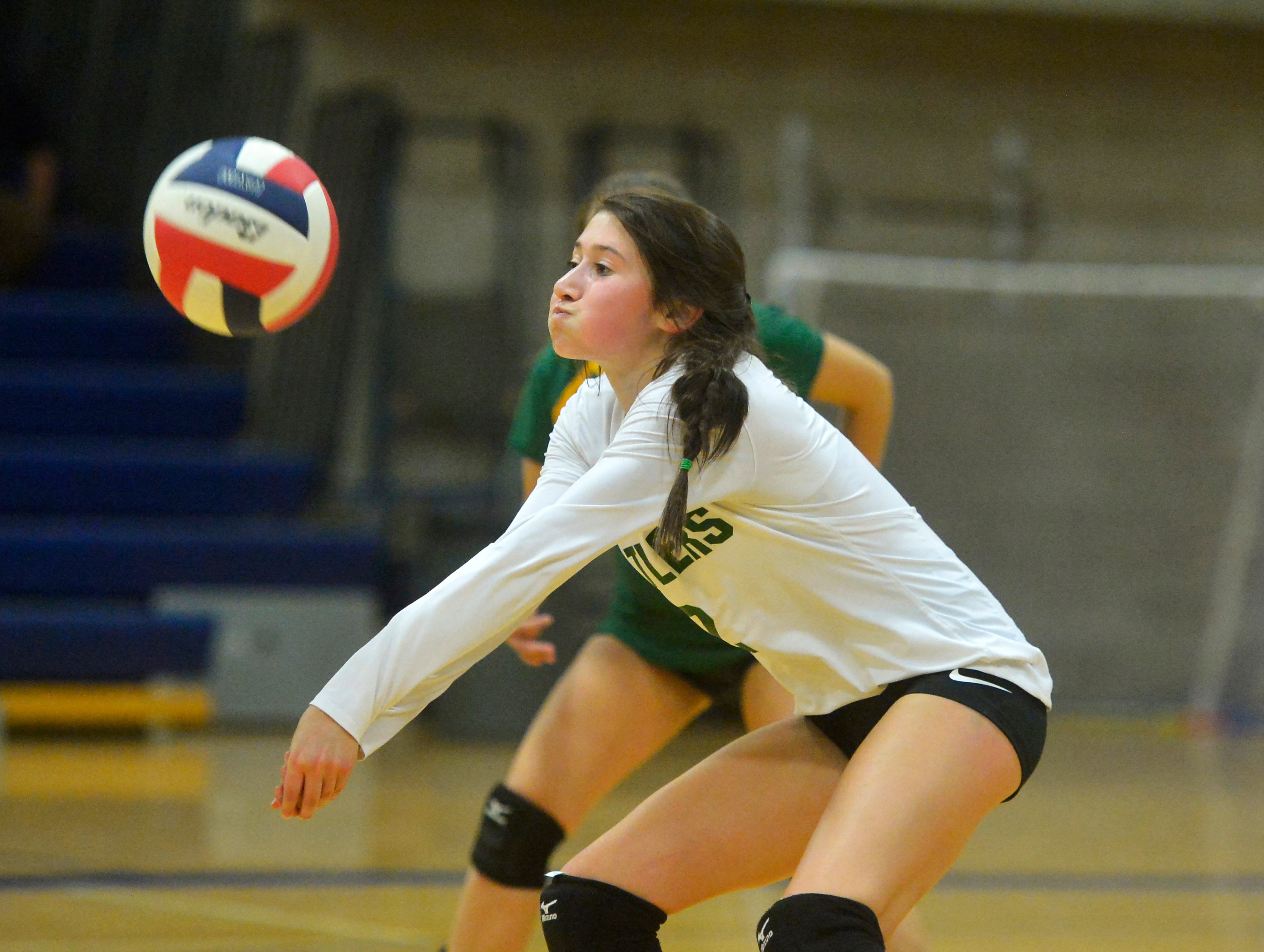 CMR's Lauren Lindseth makes a pass during the crosstown volleyball match in the Swarthout Fieldhouse, Tuesday.