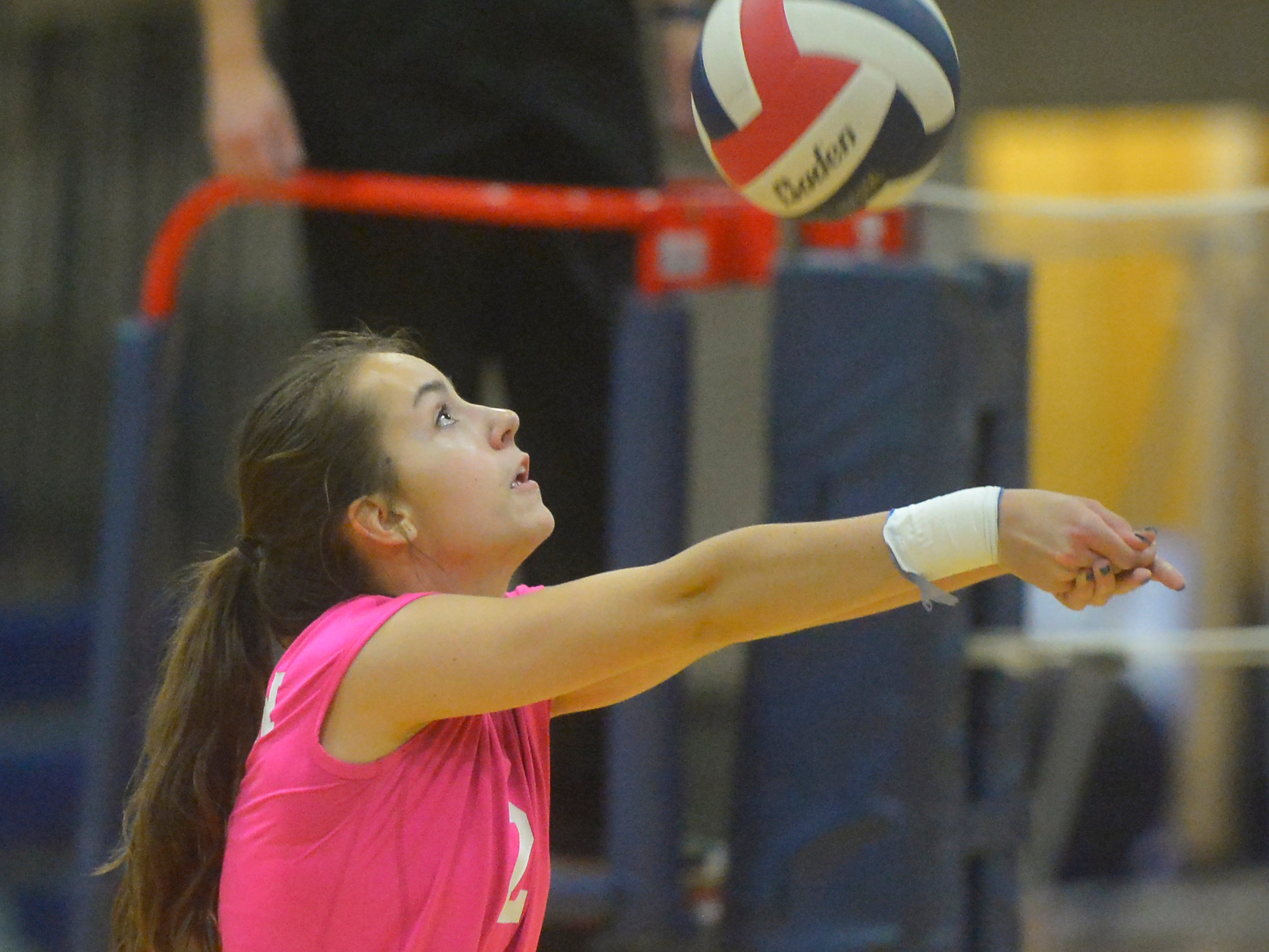 Great Falls High's Jayne Wyrick-Bilbrey during the crosstown volleyball match in the Swarthout Fieldhouse, Tuesday.