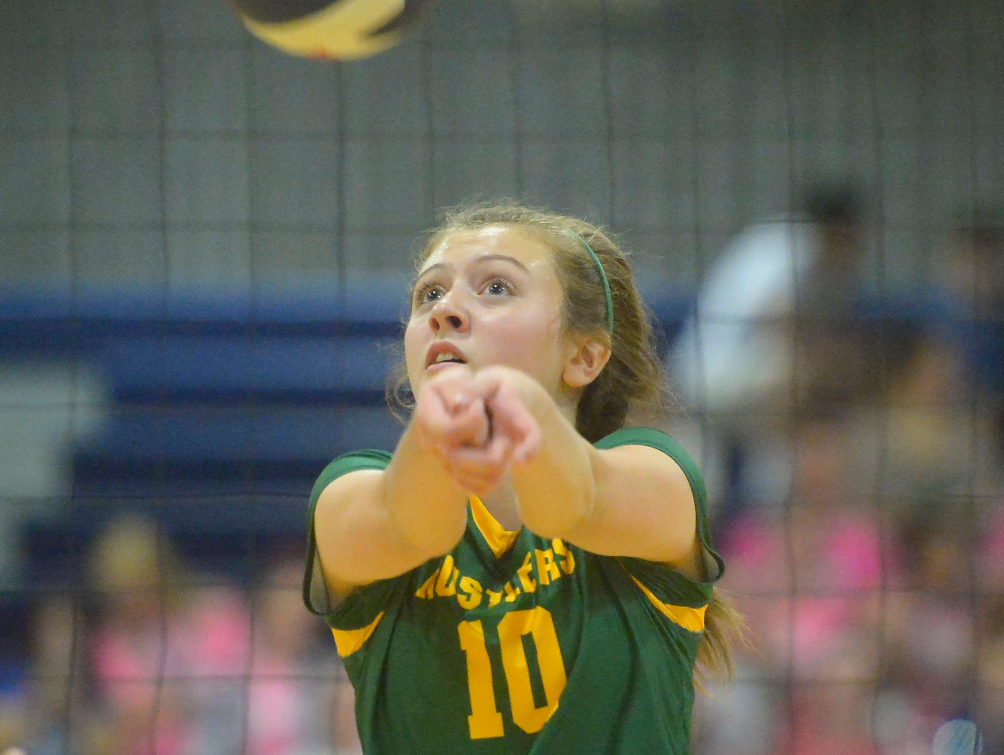 CMR's Tennisen Hiller during the crosstown volleyball match in the Swarthout Fieldhouse, Tuesday.