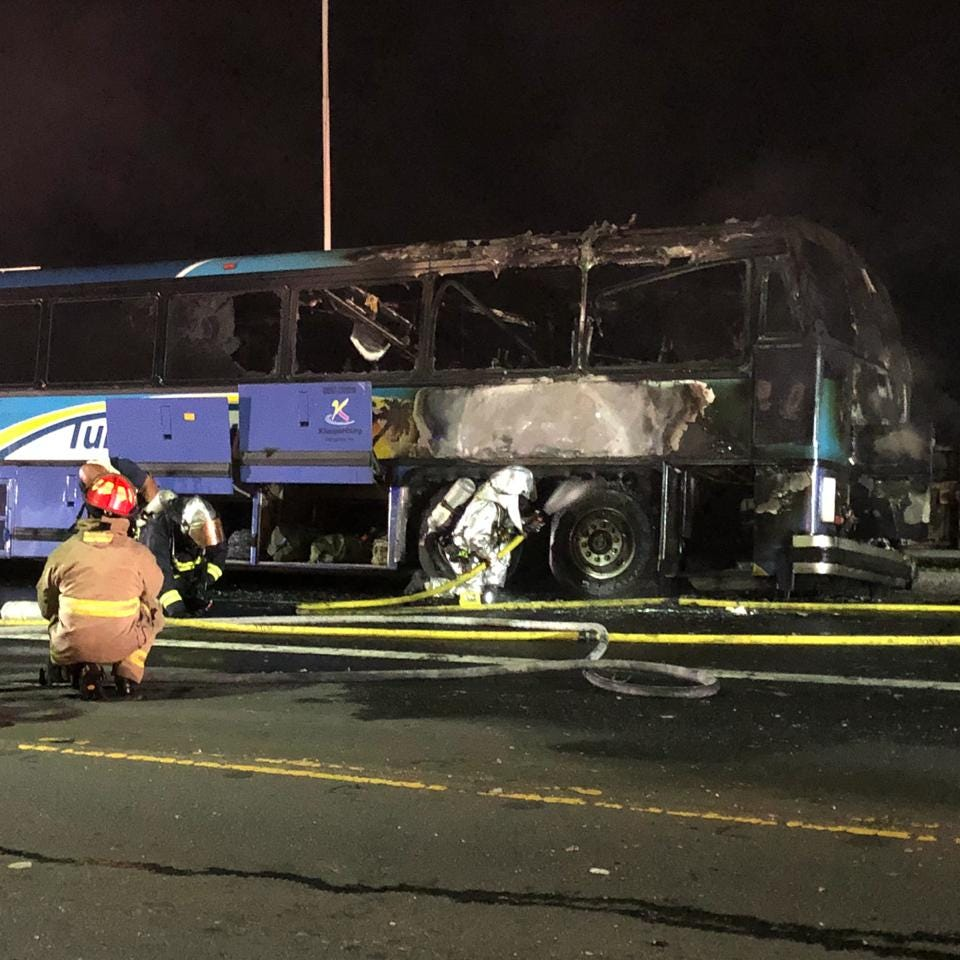 Bus fire in front of Guam airport shuts down traffic lanes
