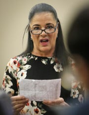 Gina Nichols confronts Larry Nassar on Jan. 17, 2018, in Circuit Judge Rosemarie Aquilina's courtroom during the second day of victim impact statements prior to his sentencing. She also read a statement on behalf of her daughter Maggie Nichols, a survivor of the former sports medicine doctor. Nassar pleaded guilty to seven counts of sexual assault in Ingham County, and three in Eaton County.
