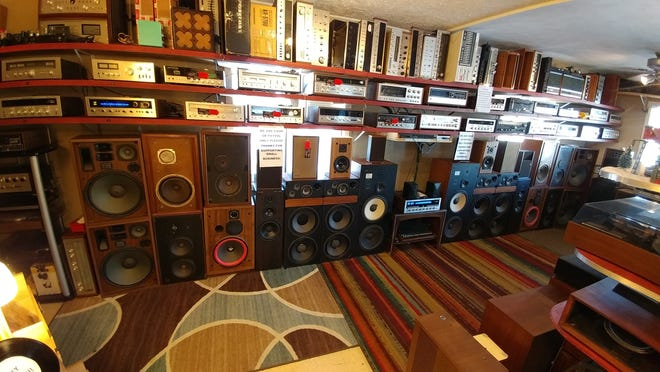 A wide array of vintage stereo gear lines one wall at Getchell Amplifiers in Brownsburg.