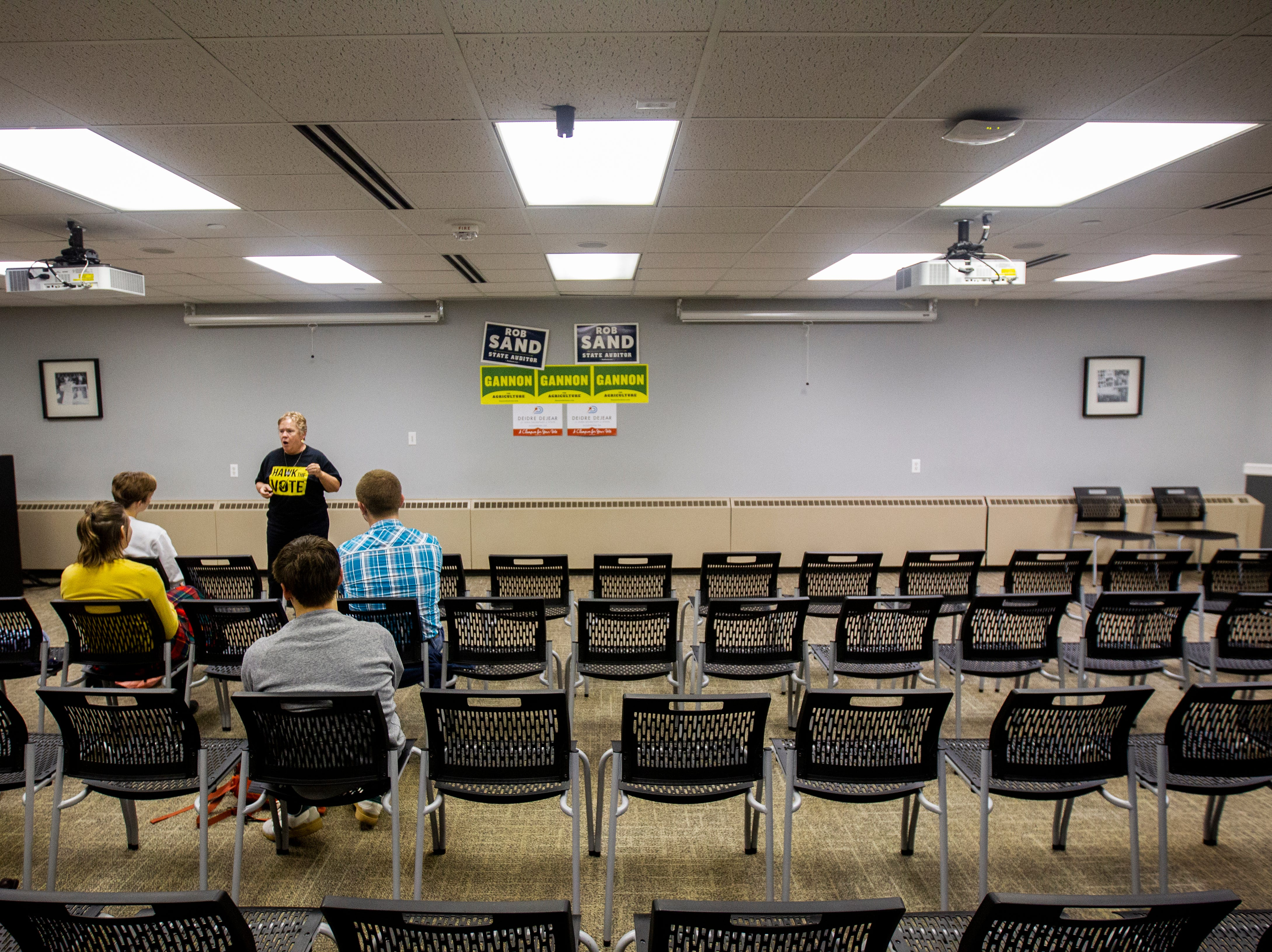 Sue Dvorsky introduces candidates during an event on Wednesday, Sept. 26, 2018, at the Iowa Memorial Union on the University of Iowa campus in Iowa City.