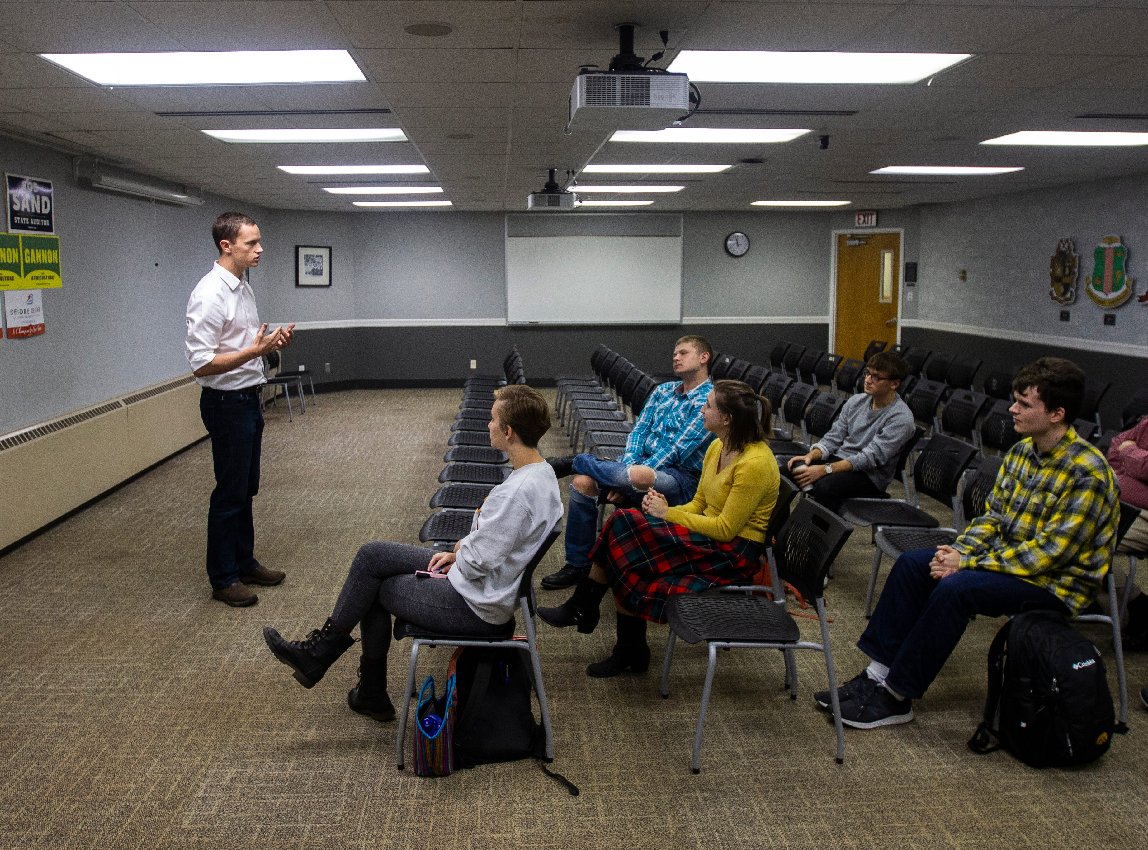 Rob Sand, Democratic candidate for Iowa state auditor, speaks during an event on Wednesday, Sept. 26, 2018, at the Iowa Memorial Union on the University of Iowa campus in Iowa City.