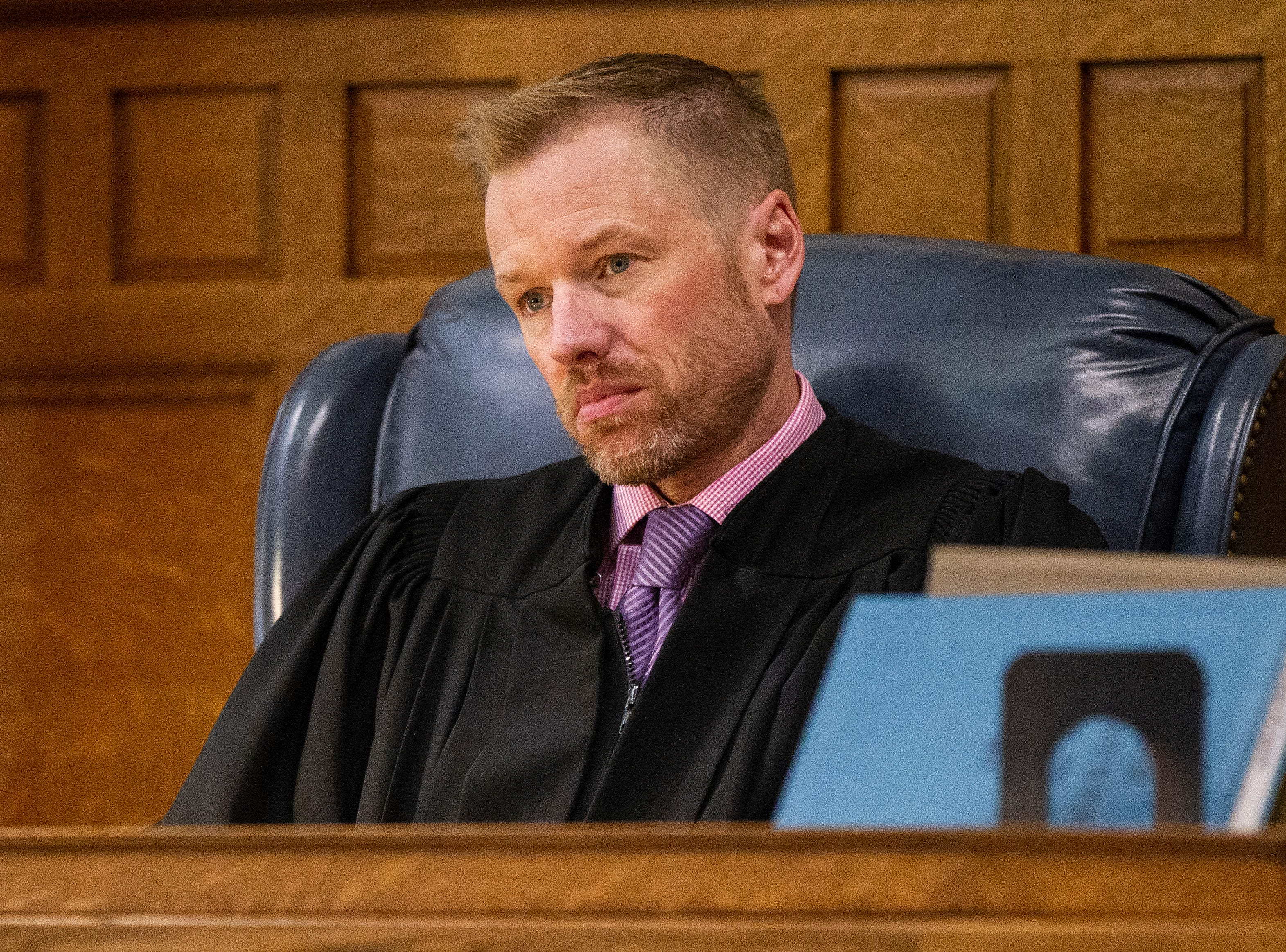 Judge Lars G. Anderson listens during a pre-trial hearing for Curtis Jones on Wednesday, Sept. 26, 2018, at the Johnson County Courthouse in Iowa City.