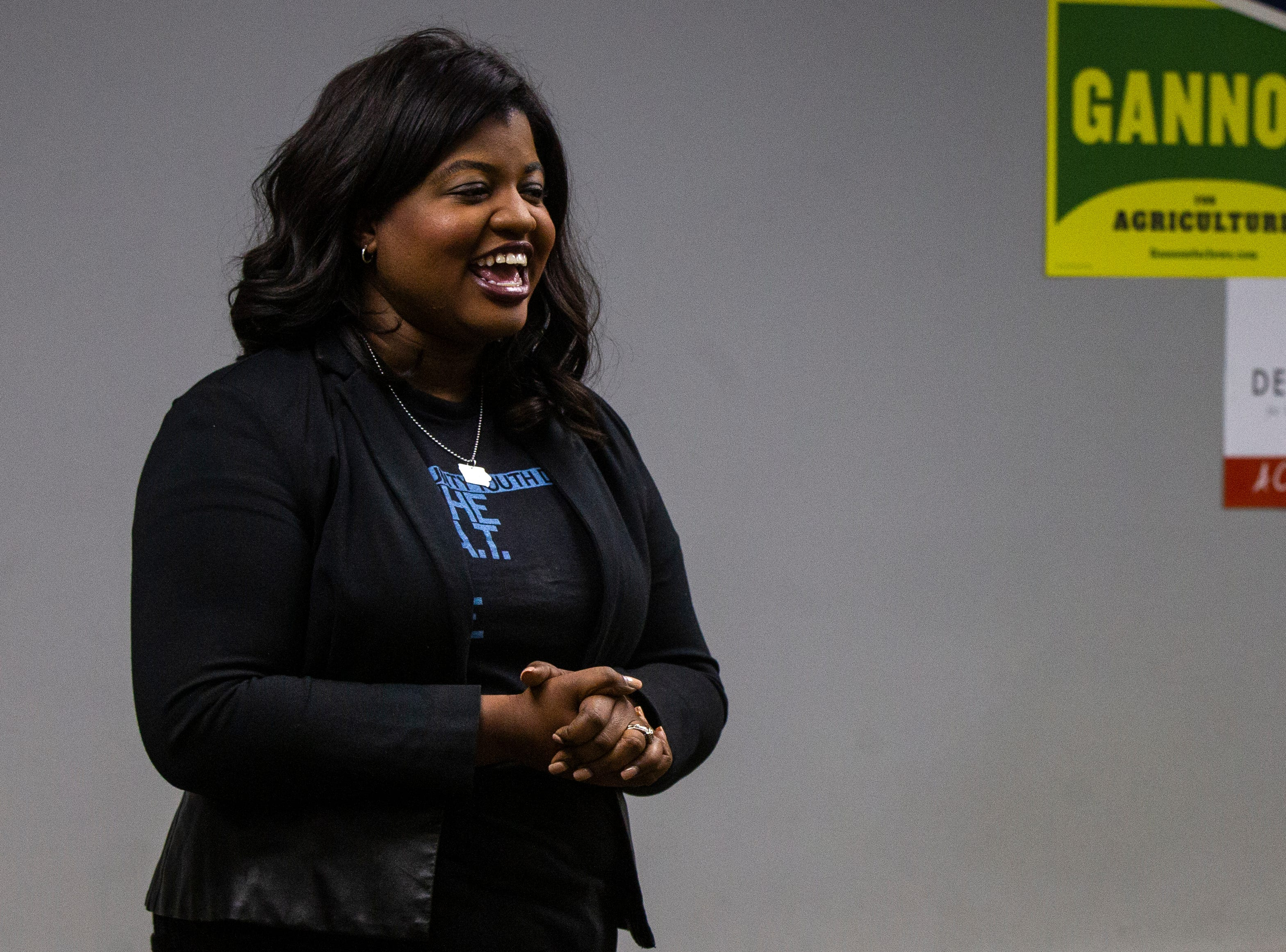 Deidre DeJear, Democratic candidate for Iowa secretary of state, speaks during an event on Wednesday, Sept. 26, 2018, at the Iowa Memorial Union on the University of Iowa campus in Iowa City.