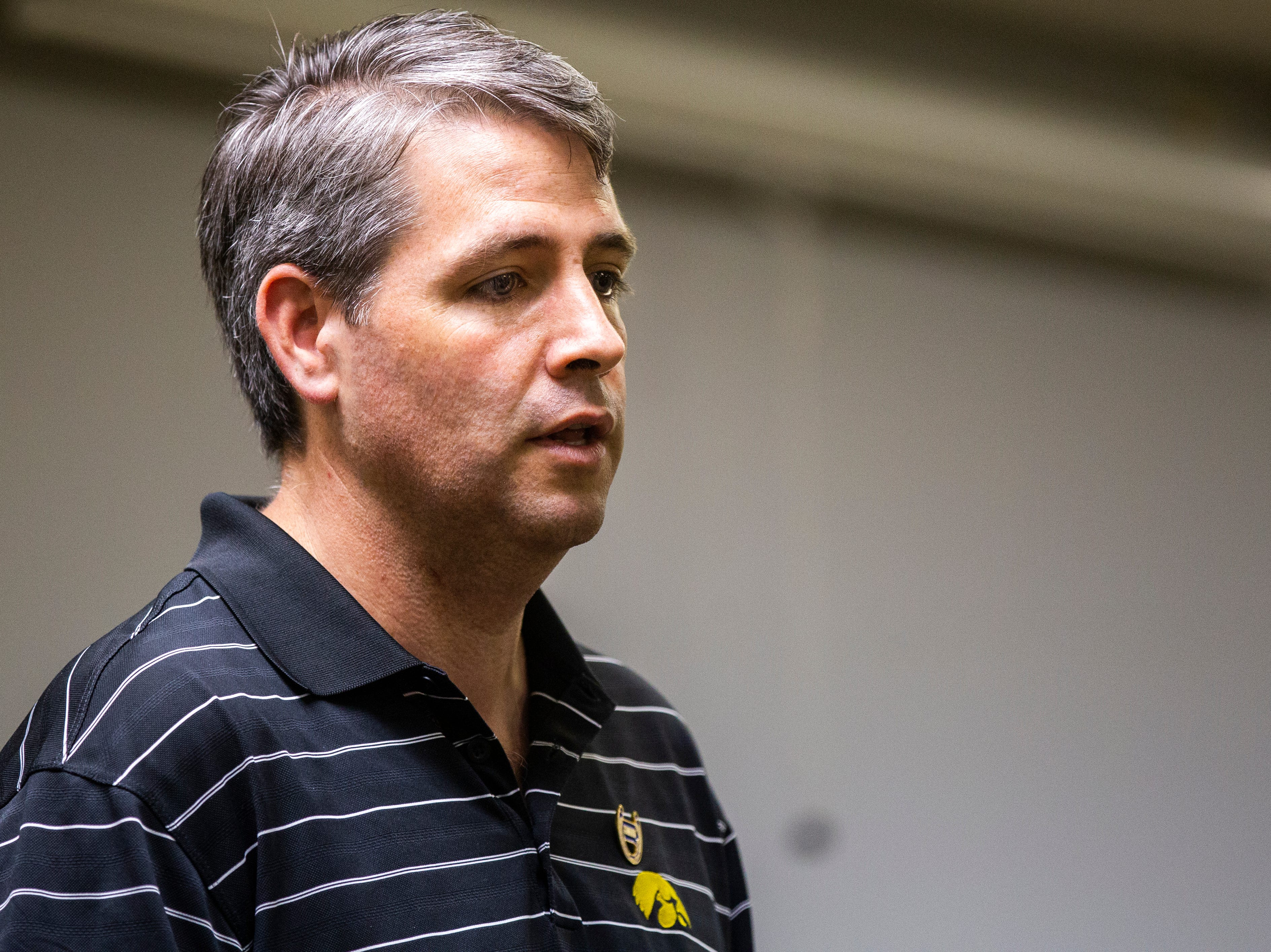 Tim Gannon, Democratic candidate for Iowa secretary of agriculture, speaks during an event on Wednesday, Sept. 26, 2018, at the Iowa Memorial Union on the University of Iowa campus in Iowa City.