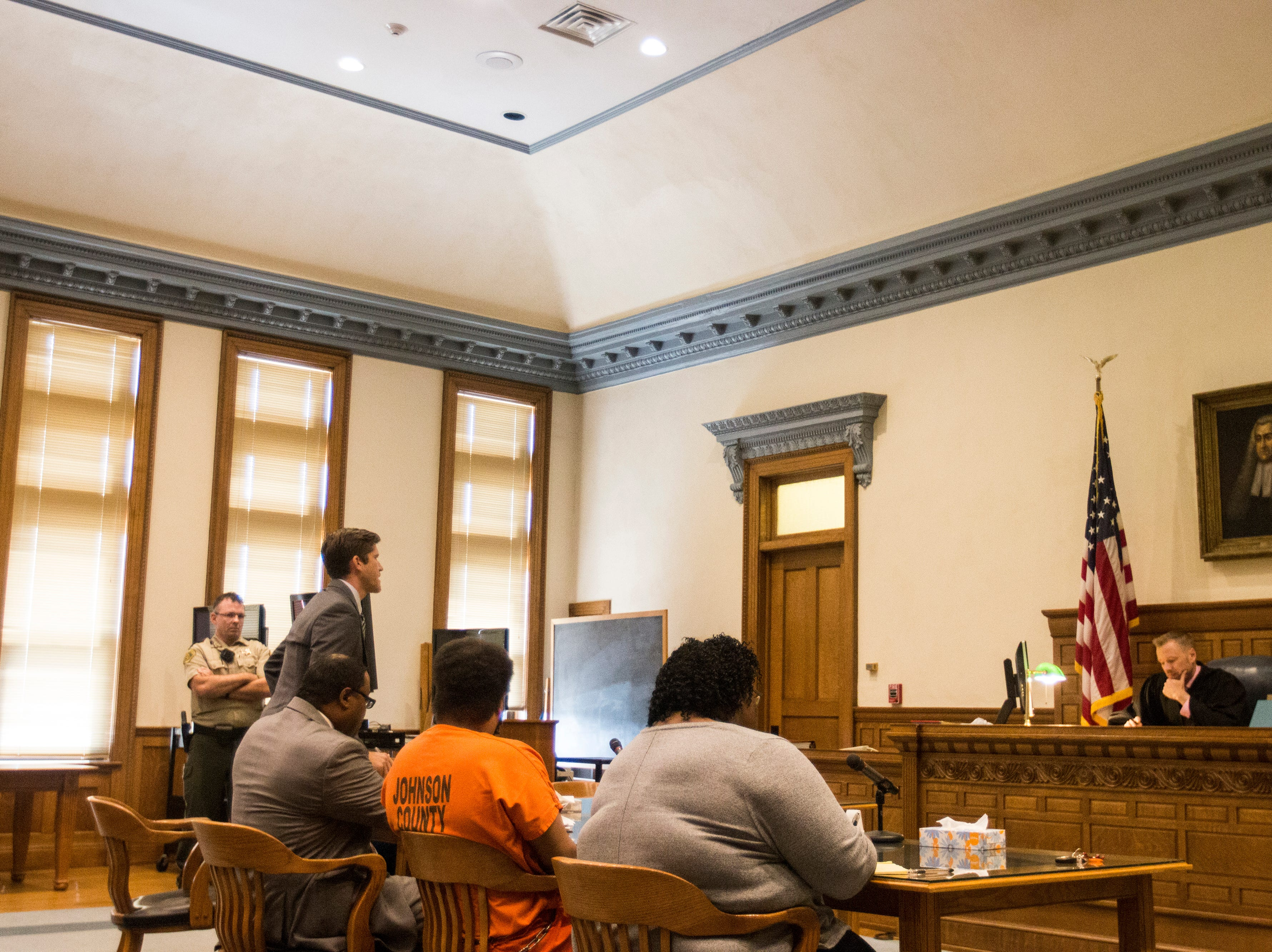 Mike Ringle, assistant Johnson County attorney, stands to speak during a pre-trial hearing for Curtis Jones on Wednesday, Sept. 26, 2018, at the Johnson County Courthouse in Iowa City.