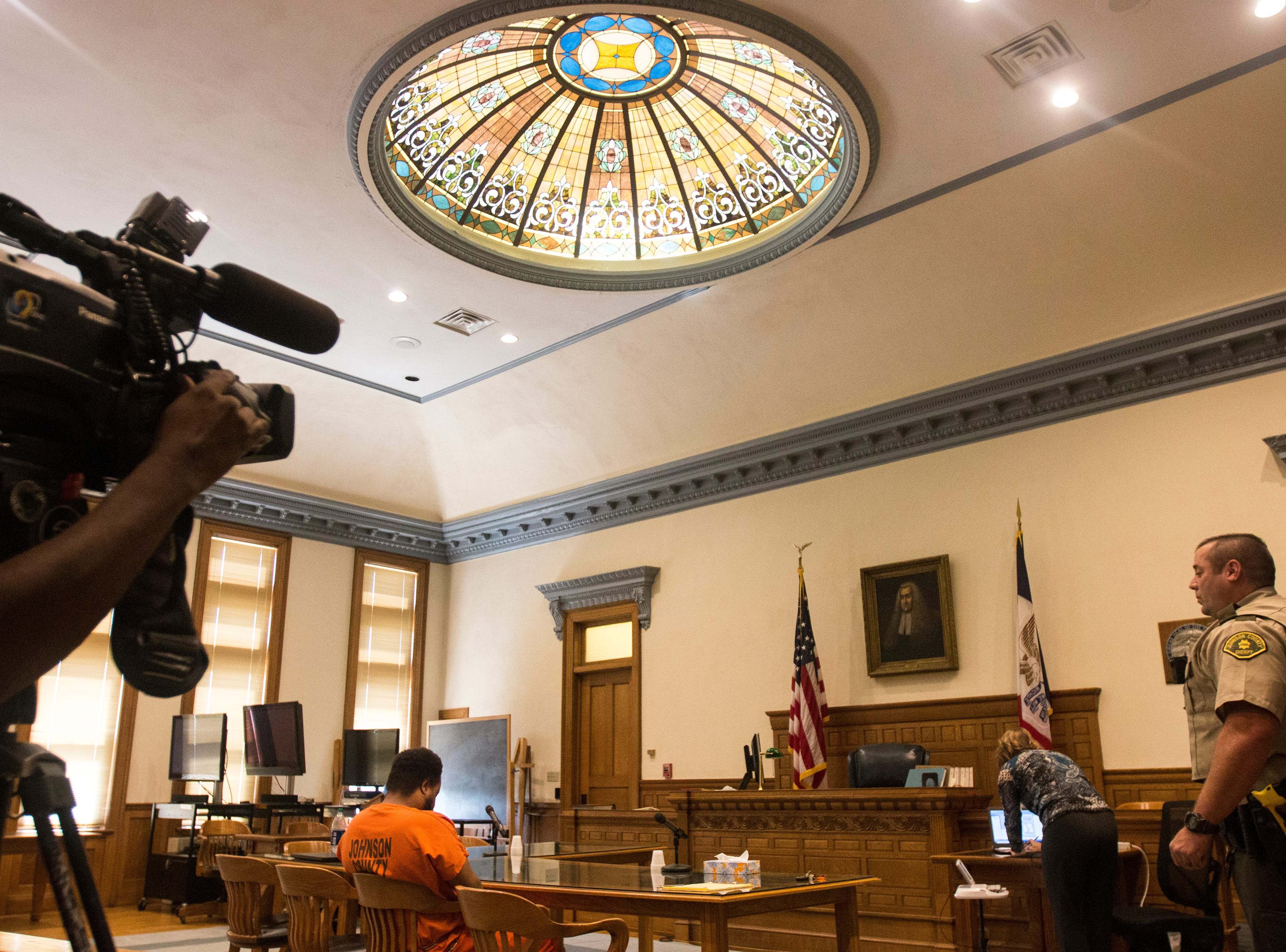 Curtis Jones sits in the court room before a pre-trial hearing on Wednesday, Sept. 26, 2018, at the Johnson County Courthouse in Iowa City.