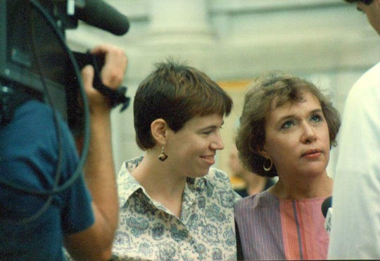 Malone appeared in one of the earliest formal local Pride parades (estimated 1983) alongside her mom, Cari.