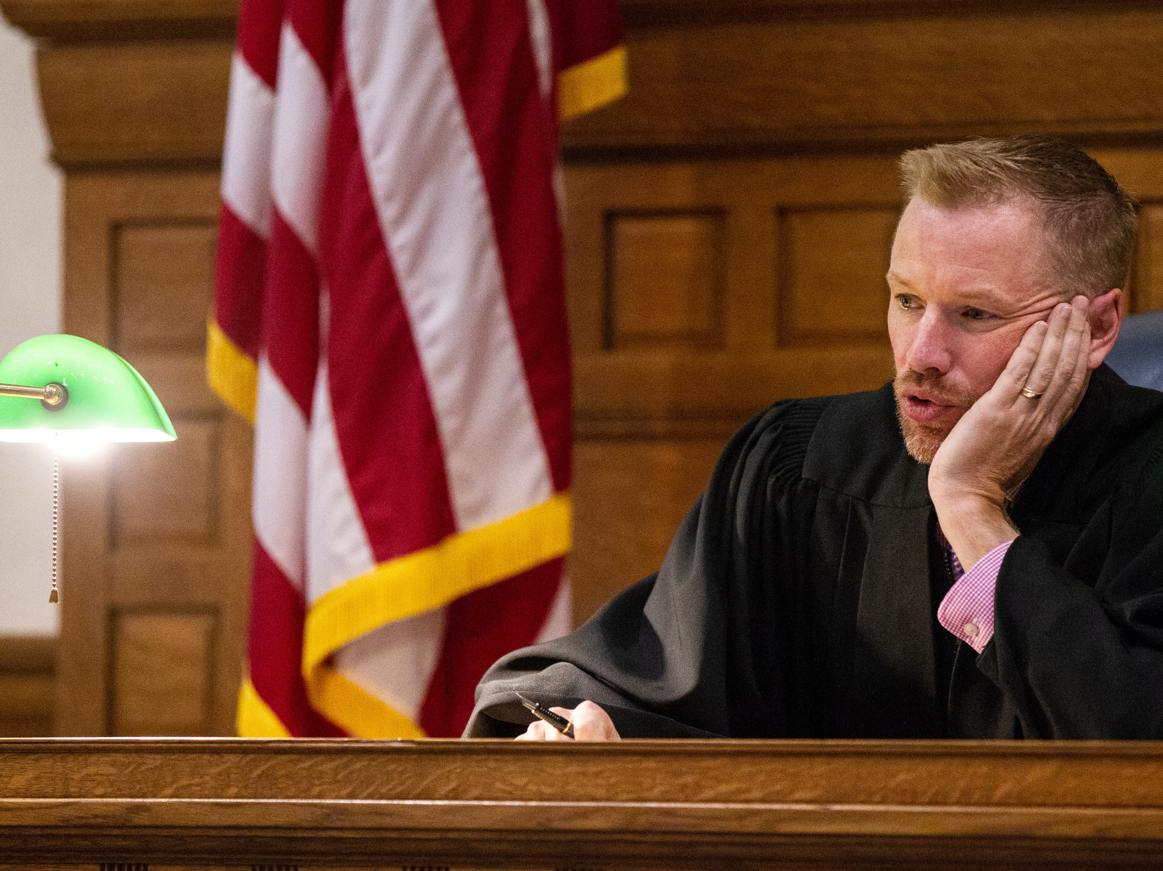 Judge Lars G. Anderson speaks during a pre-trial hearing for Curtis Jones on Wednesday, Sept. 26, 2018, at the Johnson County Courthouse in Iowa City.